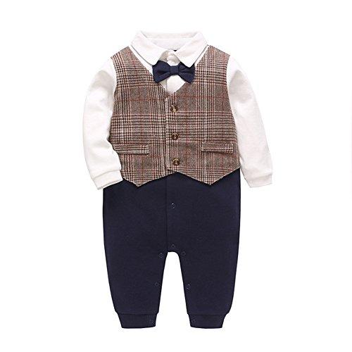 Fairy Baby Baby Boy Gentleman Outfit Formal Onesie Tuxedo Dress Suit (12-18 Months, Lattice)