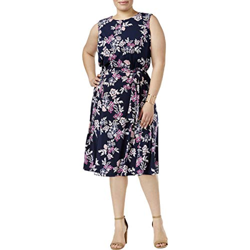 Charter Club Womens Plus Floral Print Belted Wear to Work Dress Navy 2X from Charter Club