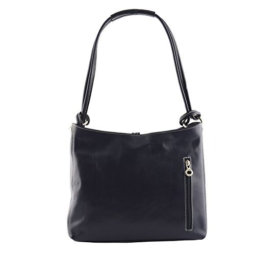 Borsa A Spalla In Vera Pelle Colore Blu Scuro - Pelletteria Toscana Made In Italy - Borsa Donna
