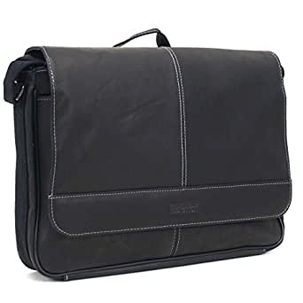 """Kenneth Cole Reaction """"Risky Business"""" Colombian Leather Flapover Cross Body Messenger Bag, Black, One Size"""