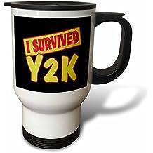 "3dRose tm_118483_1"" I Survived Y2K Survival Pride and Humor Design Travel Mug, 14 oz, Multicolor"