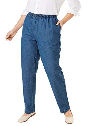 Woman Within Women's Plus Size Petite Elastic-Waist Cotton Straight Leg Pant - Medium Stonewash, 14 - Jeans Elastic Womens