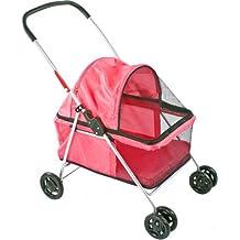 Large Pink Basket-Style Folding Pet Carrier Stroller