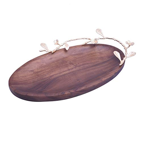 Decozen The Milli Collection Acacia Wood Large Oval Serving Platter Gold Finished Brass Branch Detailing for Serving Appetizers Stylish Dishware Vintage Platter 17.80 x 11.22 x 3.66 inches