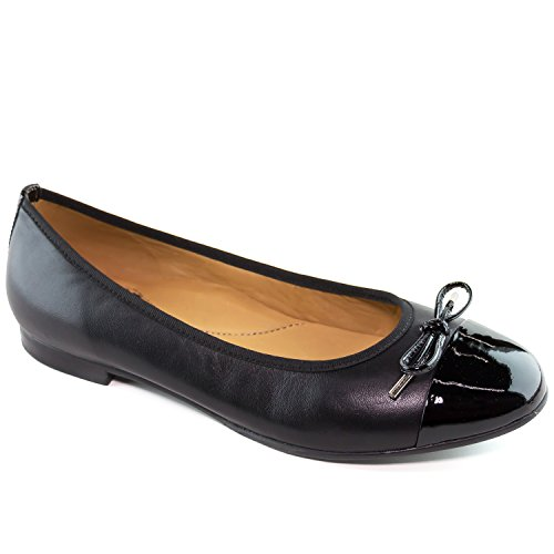 Driver Club USA Women's Genuine Leather Made In Brazil West Side Fashion Comfortable Black Napa Leather Bow Flat 10 by Driver Club USA