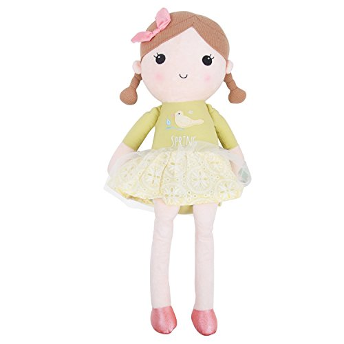 Toys for US Lovely Spring Girl Wearing Cute Green Dress Baby Stuffed Cloth Dolls Kids Huggable Plush Toys, Doll Girl Cuddly Soft Snuggle Play Toy, Good Gift For kids children (Green, L)