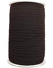 Trimming Shop 8 mm breed elastisch koord, gladde afwerking, sterk en elastisch elastiek plat elastisch koord voor breien, kunst en ambachtelijke accessoires, naaikleding (zwart, 25 meter)