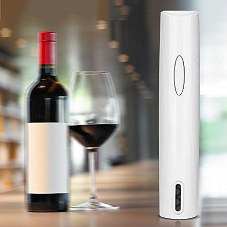 zhoul Juego de abridor de Vino eléctrico, Juego de sacacorchos, abridor de Botellas, Herramienta de Cocina, inalámbrico, con Pilas(Blanco)