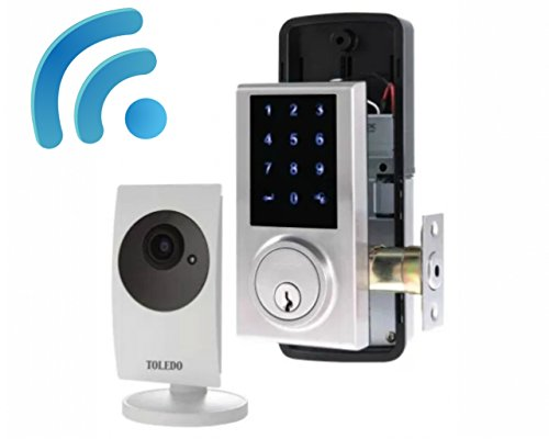 Video Camera with Built-in Smart Home Z Wave WiFi Hub and Electronic Door Lock Touch Screen Deadbolt Combo : 2-Way Audio Apple iOS - Android Compatible : Works with Amazon Alexa
