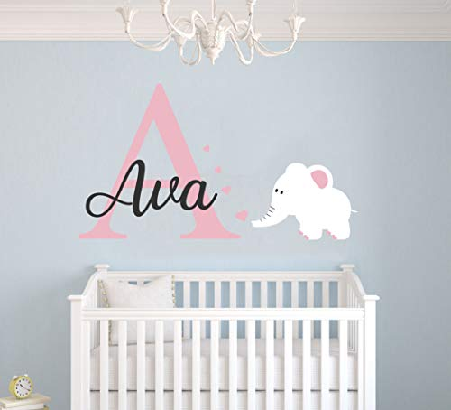 Personalized Name Elephant Animal Series and Hearts - Baby Girl - Wall Decal Nursery for Home Bedroom Children (Wide 28x17 Height)
