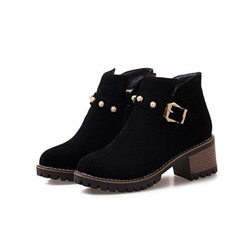 Altos Mujeres de black de bajo Mujer Tacones Botas DEDE Las Botas Tubo de Moda de tamaño la Botas Gran y Sandalette Eqg8n