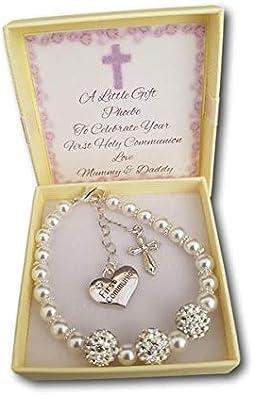 Pulsera de perlas de imitación para niñas, regalo de primera comunión, con tarjeta personalizable,