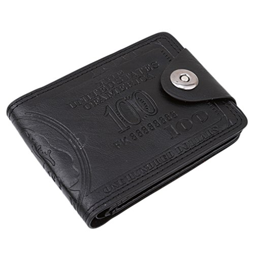 HENGSONG Men US Dollar Bill Wallet PU Leather Credit Card Photo Holder Bifold Billfold With Buttons (Black)
