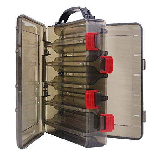 Milepetus 10 Compartments Double-Sided Fishing Lure Hook Tackle Box Visible Hard Plastic Clear Fishing Lure Bait Squid Jig Minnows Hooks Accessory Storage Case Container (Brown-10 Slots)