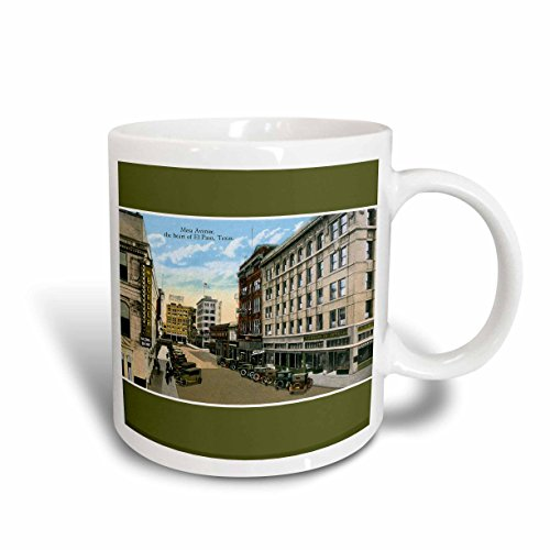3dRose mug_170630_2 Mesa Avenue, The Heart of El Paso, Texas with Antique Cars Ceramic Mug, - Of Outlet Paso El
