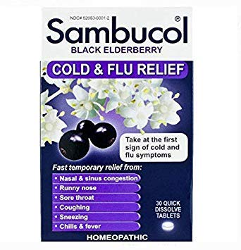 Sambucol Black Elderberry Cold & Flu Relief Tablets, Homeopathic Remedy for Temporary Relief of Cold and Flu-Like Symptoms