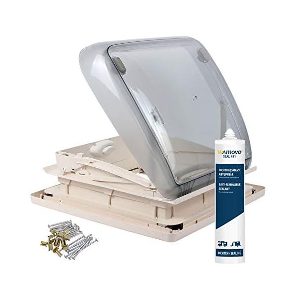 41jhBHOl2VL Dometic Mini Heki 40 x 40 Dachstärke 43-60 mm Zwangsbelüftung + Dekalin Dichmittel für Wohnwagen oder Wohnmobil