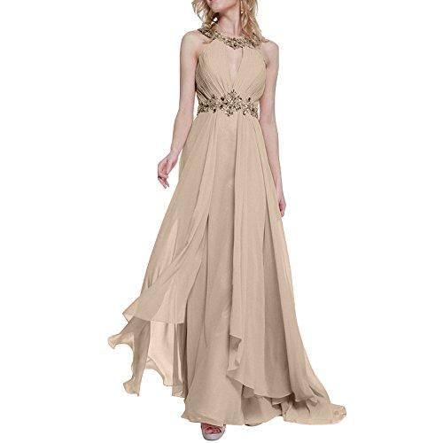 Partykleider Abendkleider Neck Festlichkleider Tanzenkleider Lang Anmutig Steine Champagner Formal High Charmant Rosa Damen XxqTYUU0