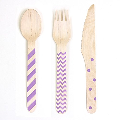 Dress My Cupcake Chevron/Striped/Polka Dot Stamped Wooden Cutlery (Set of 18) - Purple (Box Tissue Dot Polka Wooden)