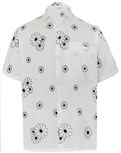 La Leela* Casual Pour les Hommes Hawaiien Chemise à Manches Courtes Floral Blanc l Poche Avan
