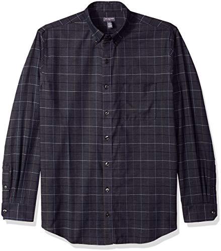 Van Heusen Men's Big and Tall Flex Long Sleeve Button Down Stretch Windowpane Shirt, sea Navy, 3X-Large ()