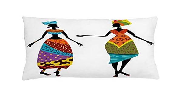 ABAKUHAUS Mujer Africana Funda para Almohada, Disfraces Tribales ...