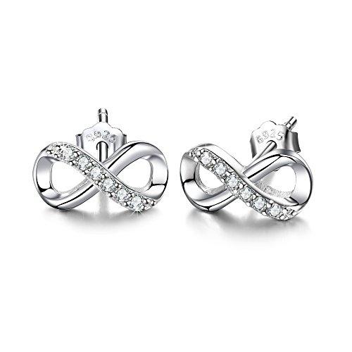 F.ZENI Women Earring Silver 925 Sterling Silver Accent Infinity Forever Stud Earring for Women