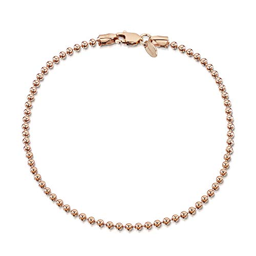 (Amberta 14K Rose Gold Plated on 925 Sterling Silver 2 mm Ball Chain Bracelet Length 7