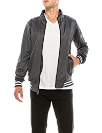 Men's Athletic 2-Stripe Zip-up Active Bomber Flight Track Jacket with Pockets