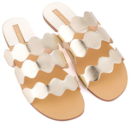 Mio Marino womens slide sandals, Frill Scalloped slide for women Enclosed In A Gift Box ()