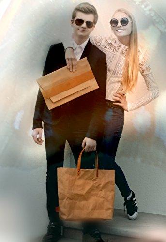 Colore marrone, effetto carta-Borsa con fibbia, colore: marrone