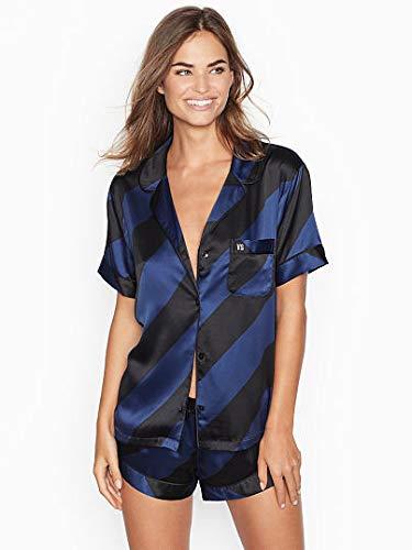 Victoria's Secret Women's After Hours Blue/Black Candy Cane Stripe Satin Boxer PJ Set - Size M