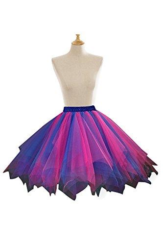 Rock'n Royals Costume (Womens Mini Tutu Skirt with Multi-layer Frilly Petticoat (Rose+Royal Blue,L/XL))