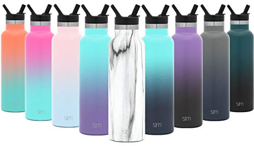 Simple Modern 20oz Ascent Water Bottle with Straw Lid – Stainless Steel Hydro Tumbler Flask – Double Wall Vacuum Insulated Hydro Small Reusable Metal Leakproof Pattern: Carrara Marble
