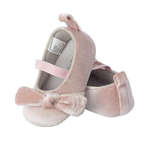 Little Me Pink Blush Velvet Ballet Girl, 6-9 Months Baby Shoe Size 2 M US Infant