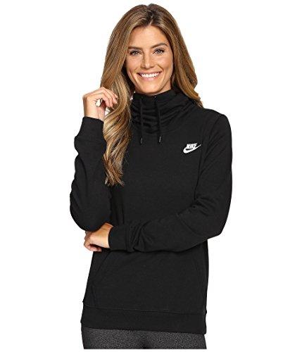 New Nike Women's Sportswear Funnel Neck Hoodie Black/Black/Black/White Medium