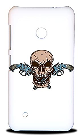 Foxercase Designs Skull With Guns Hard Back Case Cover For Nokia Lumia 530 (Nokia Lumia 530 Back Cover Skulls)