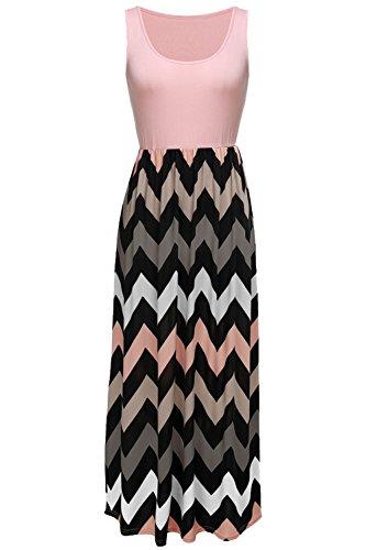 Bluetime Women's Contrast Color Sleeveless U Neck Bohemian Dress Orange1 Medium
