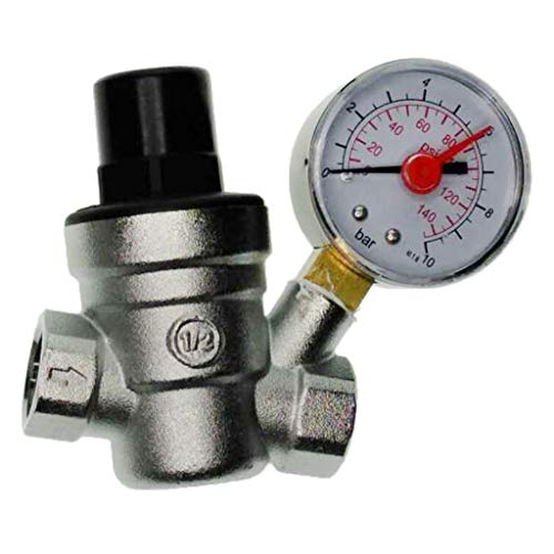 (Flameer Water Pressure Regulator Valve, Adjustable Water Pressure Reducer Valve with Oil Gauge and Inlet Screened Filter - DN15)