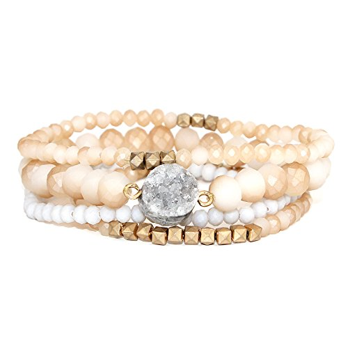 POMINA Stackable Multi Layered Matte Faceted Glass Beaded Stretch Bracelets with Druzy Stone, Set of 4 (Nude)