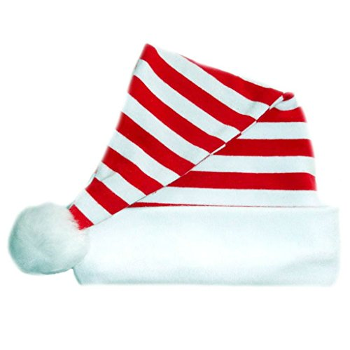 Jacqui's Unisex Baby Red and White Striped Santa Hat, Small Newborn (Elf Costumes For Babies)