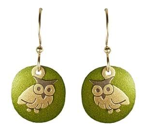 Joseph Brinton Brass Green Owl Disk Earrings 5325-77