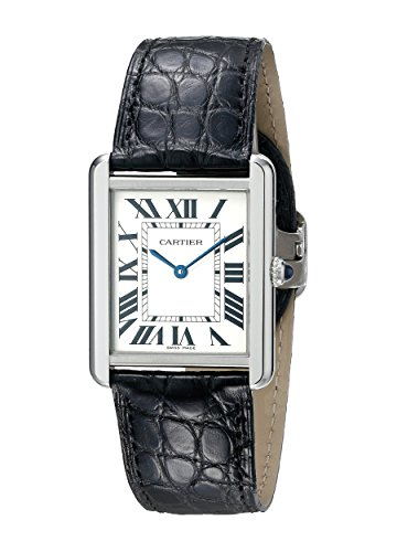 Cartier Men's W5200003 Tank Solo Stainless Steel Watch with Black Leather Band (Cartier Watch Bands)
