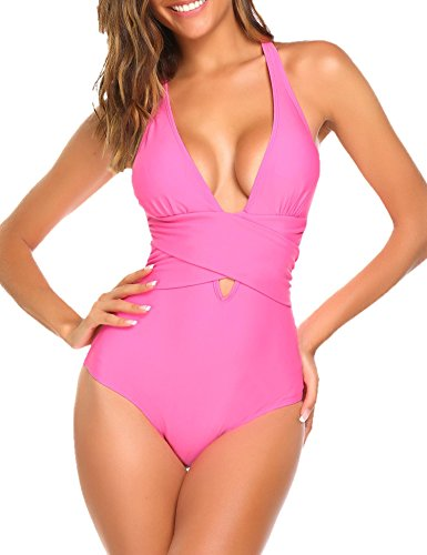 Avidlove Women Women's Solid One Piece Bikini Swimsuit(Pink,XXL) (Pink Monokini)