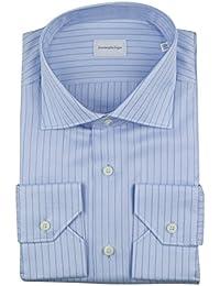 Milano Blue Herringbone Cotton Dress Shirt Size 40/15.75