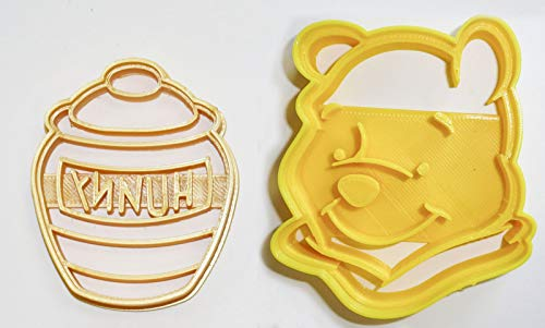 (WINNIE THE POOH ADVENTURES BEAR HUNNY HONEY POT DISNEY BOOK KIDS CARTOON SET OF 2 SPECIAL OCCASION COOKIE CUTTERS BAKING TOOL 3D PRINTED MADE IN USA PR1065)