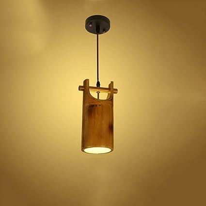 ♪ * Lámpara de techo de bambú de una sola cabeza de estilo ...
