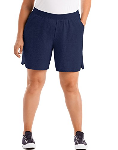 Just My Size Womens Cotton Jersey Pull-On Shorts, 5X, Navy