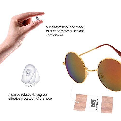 Steampunk Or Lunettes pour hommes UV400 de qualité Rouge KINDOYO miroir rond soleil Cyber Punk Femmes rétro Goggles A4Pq0xn