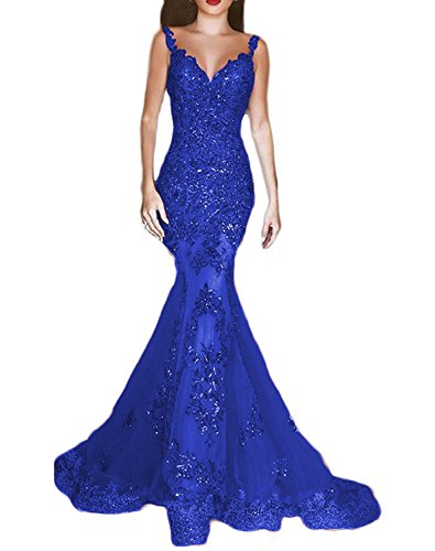 Celebrity Inspired Prom Dresses (OYISHA Womens Sequins Mermaid Evening Dresses V-neck Long Sexy Prom Gowns EV44 Royal Blue 6)